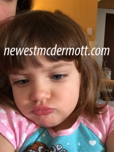 Tantrum toddler face pouting