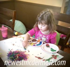 Toddler finger-painting